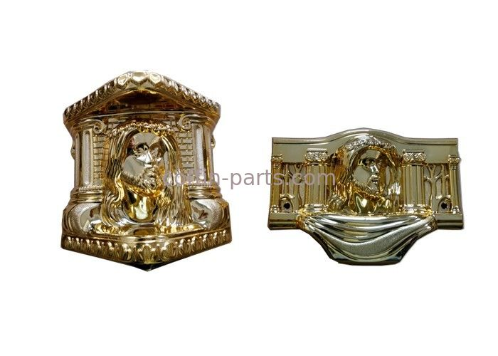 Gold Plating Coffin Parts Customized Copper Color 19 Kg / 18kg  With Christ Model