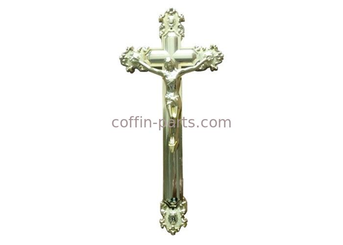Jesus Ornamental Coffin Crucifix For Funeral Gold Color Size 44.8 × 20.8 Cm
